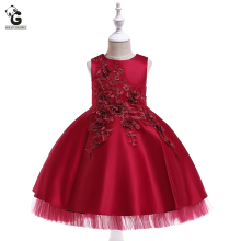 Girls 3D Embroidery Dresses Kids Wedding Toddler High-end Dress Flower Vestidos Tutu Formal Party Dresses Girls Kids Prom Dress недорого