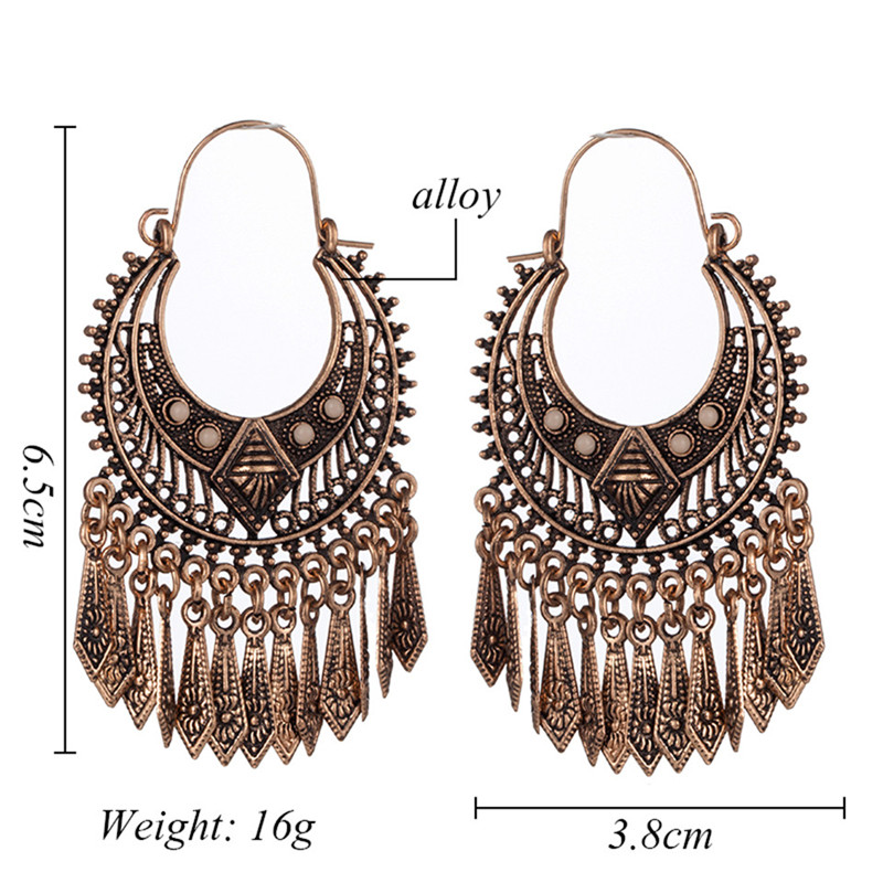 US $1 59 20% OFF|Vintage ethnic indian silver gold metal tassel flowers  shaped geometric dangle hanging drop wedding earrings for women jewelry-in