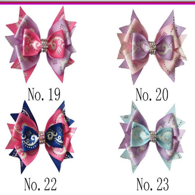 """30 BLESSING Good Girl Boutique 3.5/"""" Silver Wave Stylish Hair Bow Clip"""