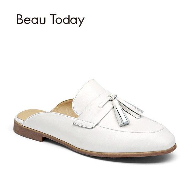 BeauToday Mules Shoes Women Genuine Leather Round Toe New Fashion Open Back  Calfskin Upper with Fringe Decoration 35037 0fda06f520
