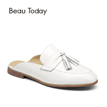 BeauToday Mules Shoes Women Genuine Leather Round Toe New Fashion Open Back Calfskin Upper with Fringe Decoration 35037