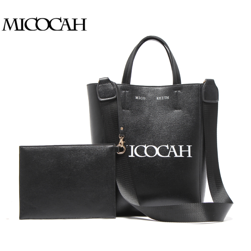 MICOCAH 2 PCS Women Top Handle Handbags Letter Print Black Women Bags PU Leatehr Big Fashion Bag HTC104 letter print knot front top