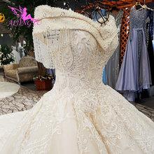 AIJINGYU Königin Hochzeit Kleid Prinzessin Ball Kleider Kleider Langarm Muslimischen Neue Brautkleid Dusche
