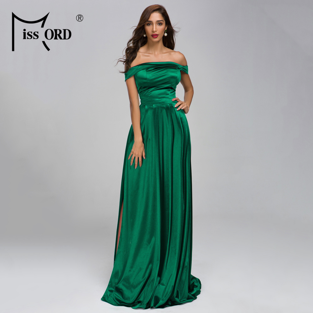 Missord 2020 Sexy Slash Neck Off Shoulder Elegant  Dress Backless Female Solid Color Elegant Maxi Dress Vestidos FT19283