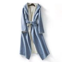 HIGH STREET пальто с капюшоном Новая мода 2018 дизайнер X длинное пальто Для женщин шнуровке шерстяное внешний слой