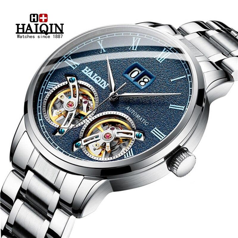 Relojes de hombre HAIQIN nuevo reloj de pulsera automático de moda Casual para hombre, reloj Tourbillon de lujo de marca superior, reloj