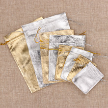 5/10 PCs Metallic Foil Cloth Organza Bag Gold/Silver Jewelry Packaging Bag Wedding Favor Pouch Drawstring Candy Gift Bags(China)