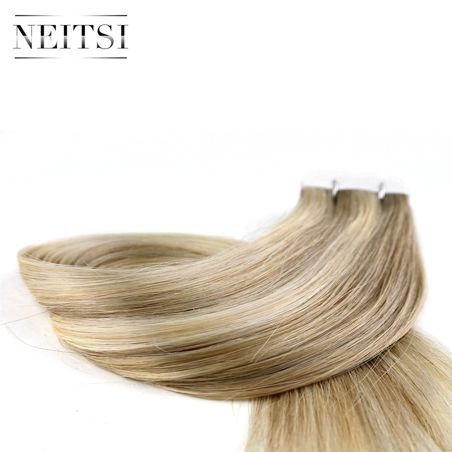 Neitsi Straight Skin Weft Adhesive Hair Geen Remy Tape In Human Hair - Mensenhaar (voor wit) - Foto 4