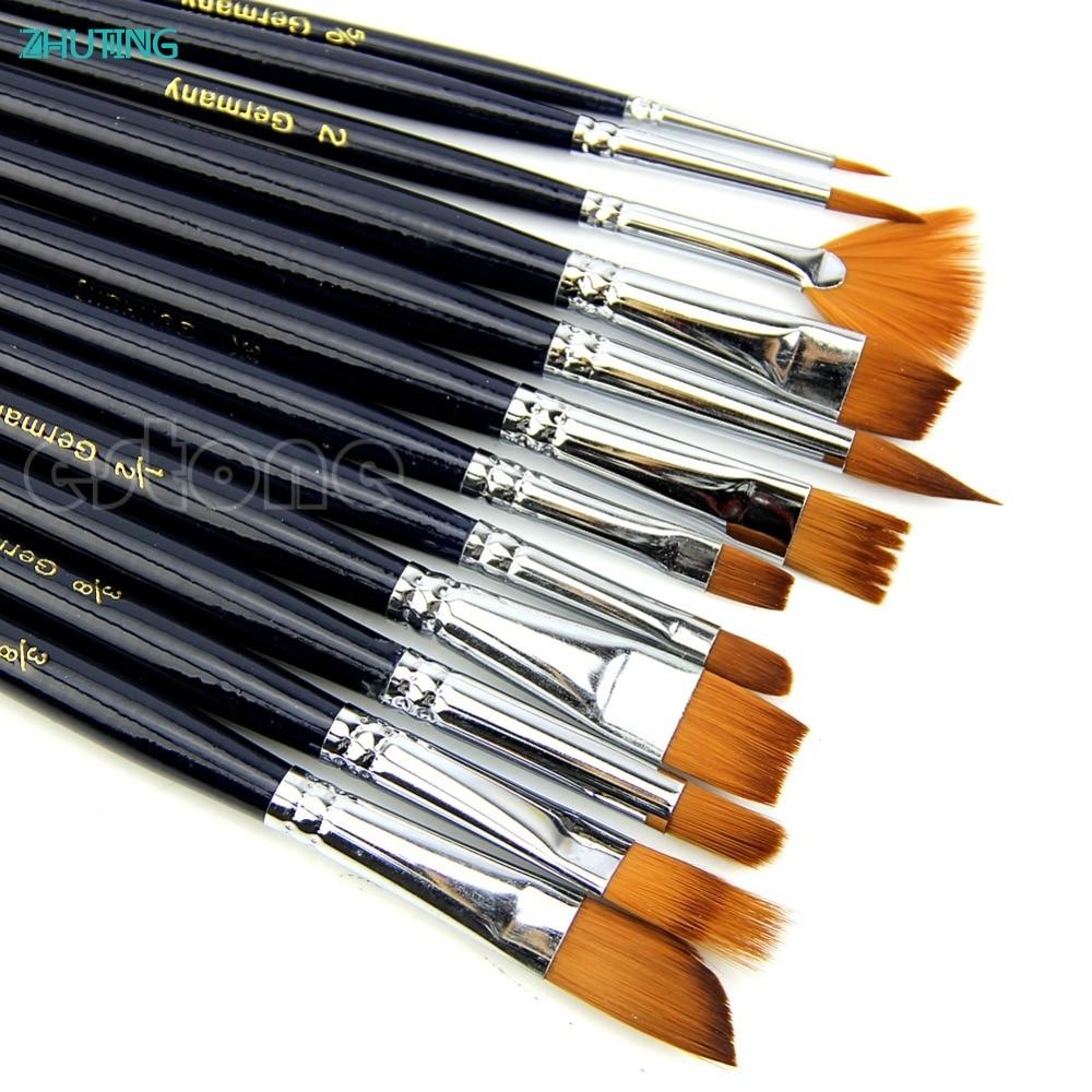 New 12X Artist Paint Brush Set Nylon Hair Watercolor Acrylic Oil Painting Supplies JAN18