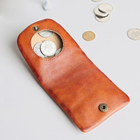 Real Genuine Cow Leather Unisex Coin Purse For Men And Women Solid Color Vintage Retro Small