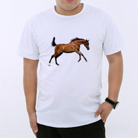 Summer Style Ink Painting Horse Pattern Print T Shirt Man Summer Clothes 2018 Round Collar Man