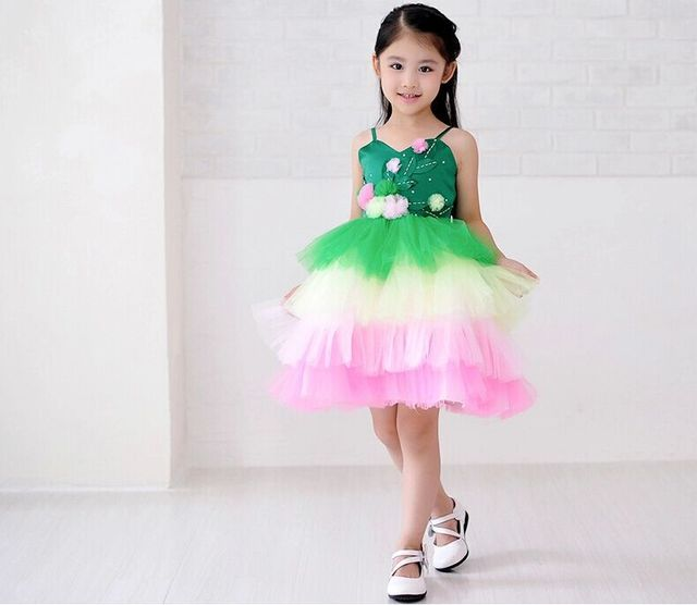 4c04089870db Cute Green and pink Organza Dresses Children Mini Cupcake Little ...