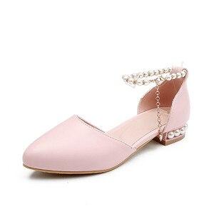 Image 5 - Ymechic sapatos femininos de salto baixo, calçados para moças, branco, rosa, de noiva, com cordão, para mulheres, casual, verão 2018 tamanho do tamanho