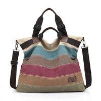 MANJIANGHONG Brand Messenger Bags Vintage Canvas Women's Shoulder Bag Patchwork Color Tote Handbags Purse bolsas feminina