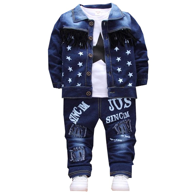 2017  Boys Clothing Sets New Kids Cotton Suit Autumn Long - sleeved Three piece jacket+jeans+t-shirt fashion casual children su 2016 new children s clothing boys long sleeved t shirt large child bottoming shirt spring striped shirt tide
