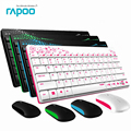 Waterproof Original Rapoo X220 2.4G Multi-Media Mini Wireless Keyboard and Mouse Combo for PC Mac Laptops Desktops gamer