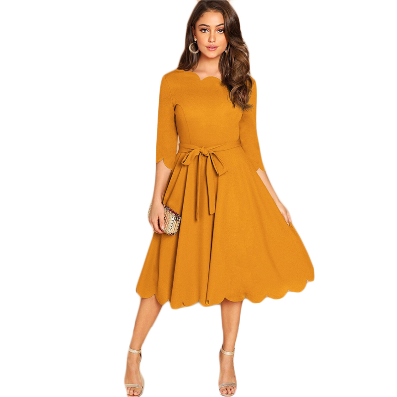 Sheinside Elegant Scallop Edge Bodycon Dress Women Burgundy 3/4 Sleeve Solid Pencil Dresses Woman Party Night Ladies Midi Dress 42