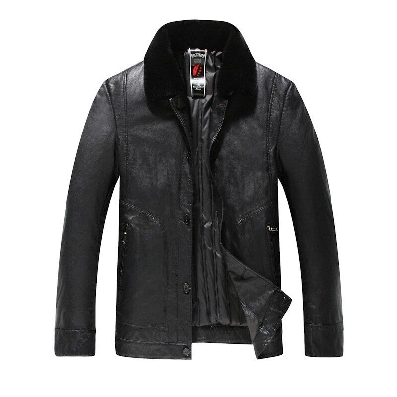 plus size 8XL Men's Real Leather Down Jacket Men Lambskin Black Winter Warm Genuine Leather Jacket with Sheep Fur Collar Coat