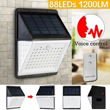 88 LED Solar Power Motion Sensor Lighting Voice Remote Control 5 mode Waterproof Garden outdoor Emergency Security Wall Lamp