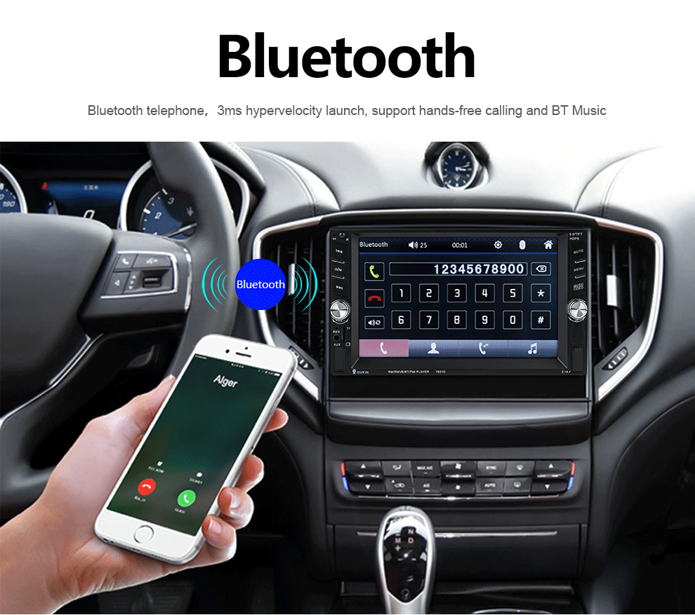 Mp5-Player Bluetooth-Support Car-Radio Touch-Screen Stereo 2-Din FM 7651D HD 2-Usb-Port