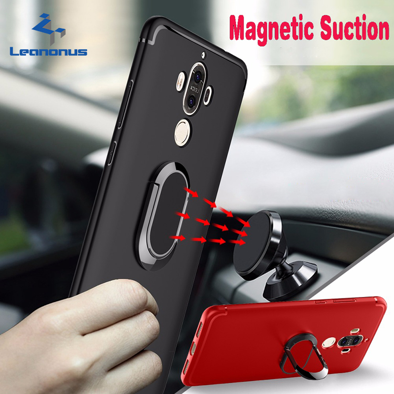 Leanonus Phone Cases for Huawei Mate9 Mate 9 Pro Magnetic Metal Ring Stand Matte TPU Case Cover for HUAWEI MATE 9 For Car Mount iPhone XS
