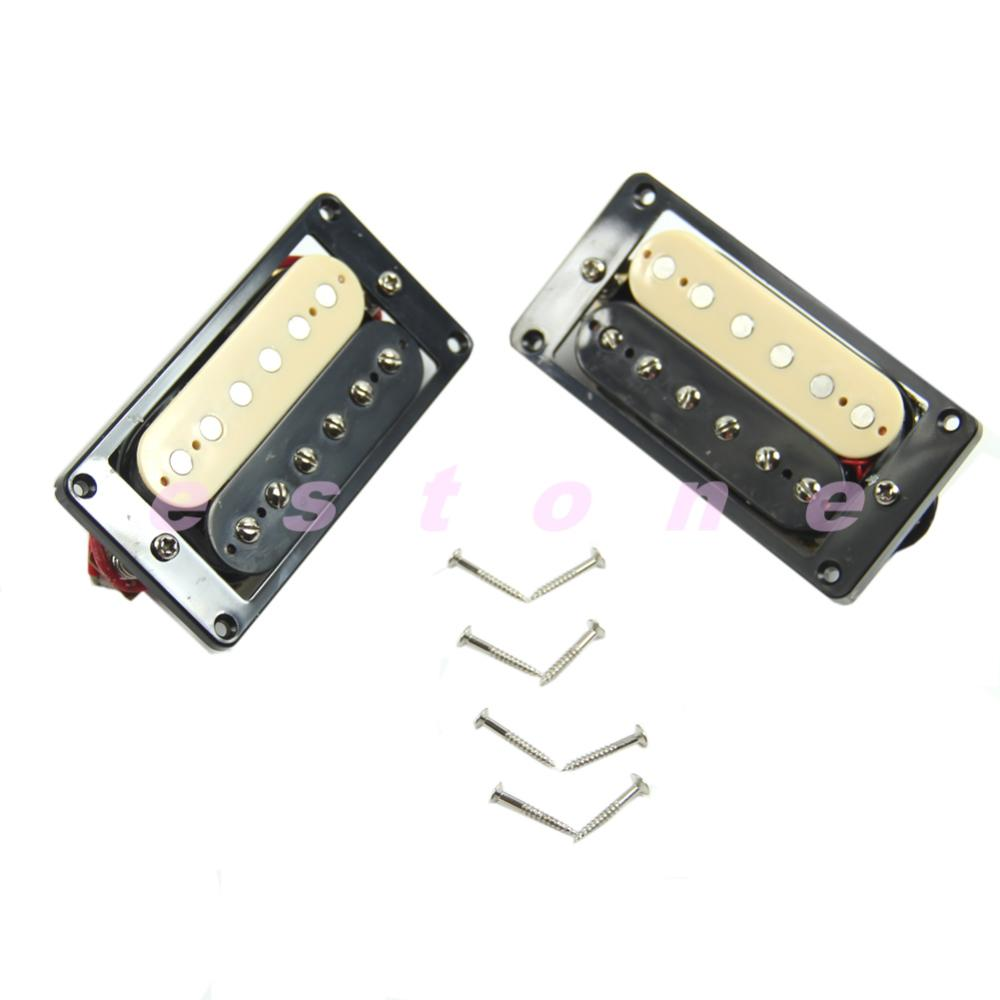 1 Set of 2 one Black one Yellow Humbucker Double Coil Electric Guitar Pickups belcat bass pickup 5 string humbucker double coil pickup guitar parts accessories black