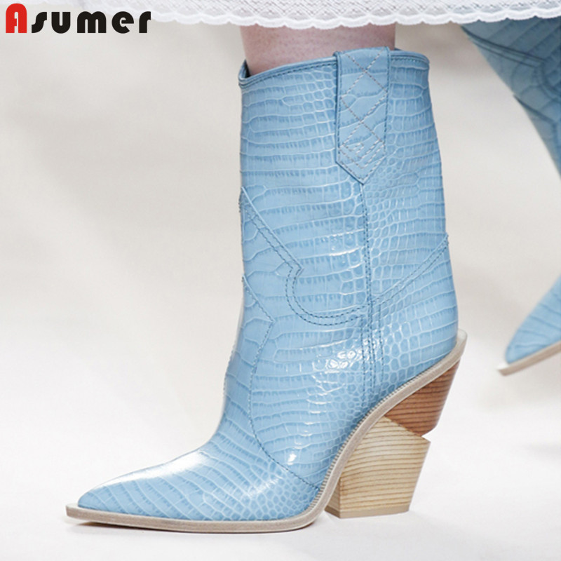 ASUMER Plus size fashion autumn winter boots women pointed toe wedges shoes western boots sheepskin inside ankle boots ASUMER Plus size fashion autumn winter boots women pointed toe wedges shoes western boots sheepskin inside ankle boots