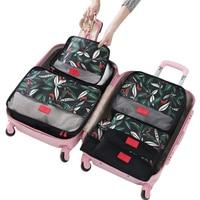 OnnPnnQ 6PCS Set High Quality Floral Travel Mesh Bag In Bag Luggage Organizer Packing Cube Organiser