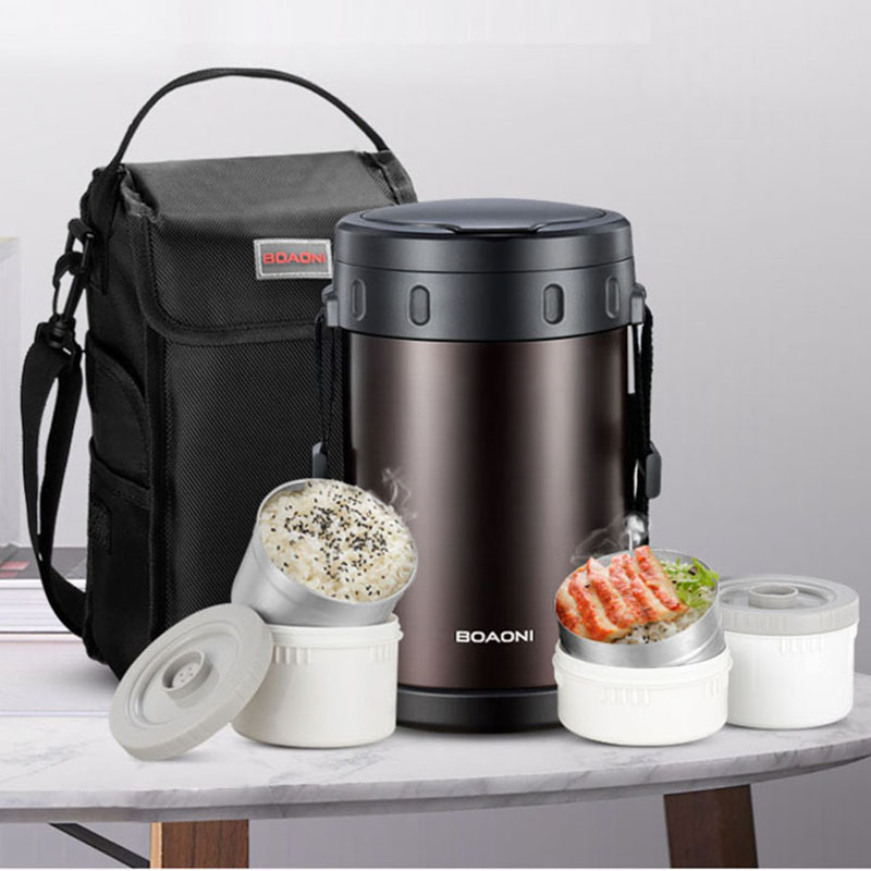 BOAONI 2.2L Thermos Food Lunch Box Vacuum Insulated Stainless Steel Thermal Soup Box Kitchen Keep Heat Containers With Spoon Bag