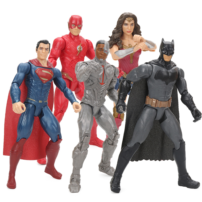 Original Comics Toys Justice League Wonder Woman the Flash Batman Superman Cyborg PVC Action Figure Toy Collection Model Doll image