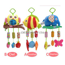 Baby Rattle Ring Bell Baby plush Owl elephant fish 3 style  lathe hanging  Musical  Baby toy for bed Stroller car 20% off