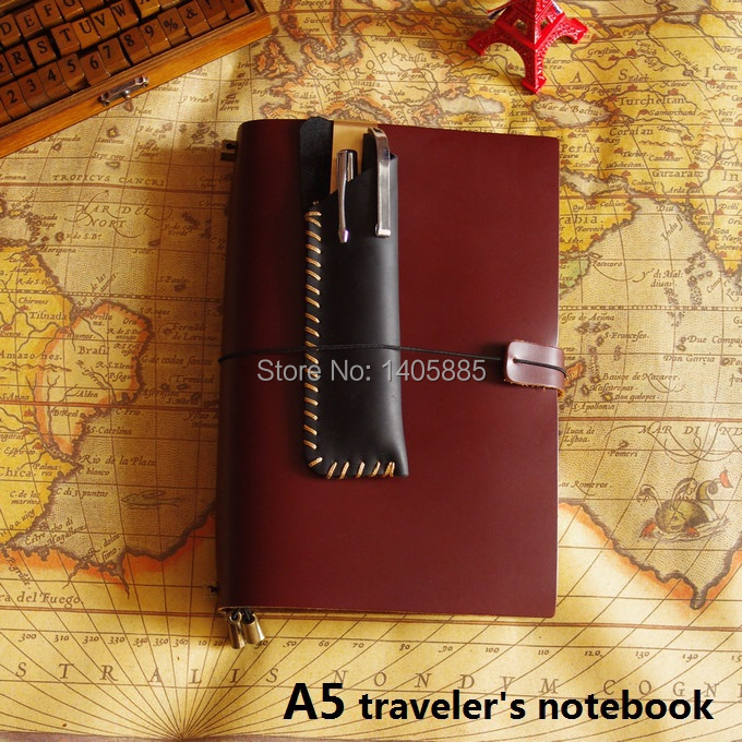 ФОТО A5 Vintage Genuine Leather Traveler Notebook(wide) Cowhide diary loose leaf spiral notebook
