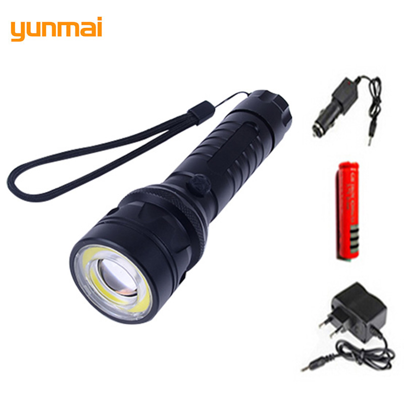 Tactical Cree XML-T6+COB Waterproof Flashlight 1pcs 18650 Battery+2pcs Charger Rechargeable Torch Quality Bike Light Led Zaklamp waterproof 3t6 led flashlight 3 xml cree 5 mode lamp lanterna tactical denfense torch rechargeable 2x18650 battery and charger