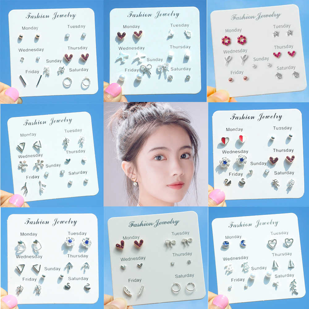 6 Pairs/lot Cute Cherry Rainbow Stud Earrings Set for Women Korean Style Clover Bike Starfish Moon Snowflake Women Jewellery