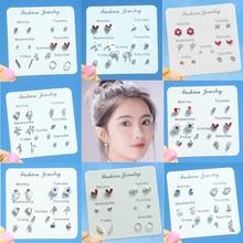 6 Pairs/lot Cute Cherry Rainbow Stud Earrings Set for Women Korean Style Clover Bike Starfish Moon Snowflake Jewellery
