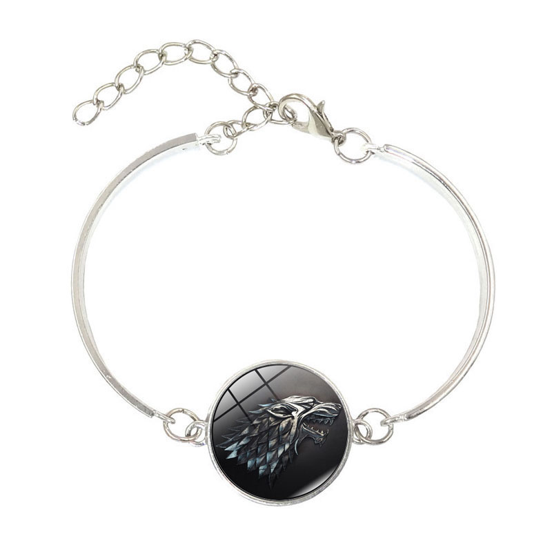 Glass Cabochons bracelets & bangles Movie Of Ice and Fire Game of Thrones Stark Wolf Silver Jewelry Adjustable Charm Bracelets