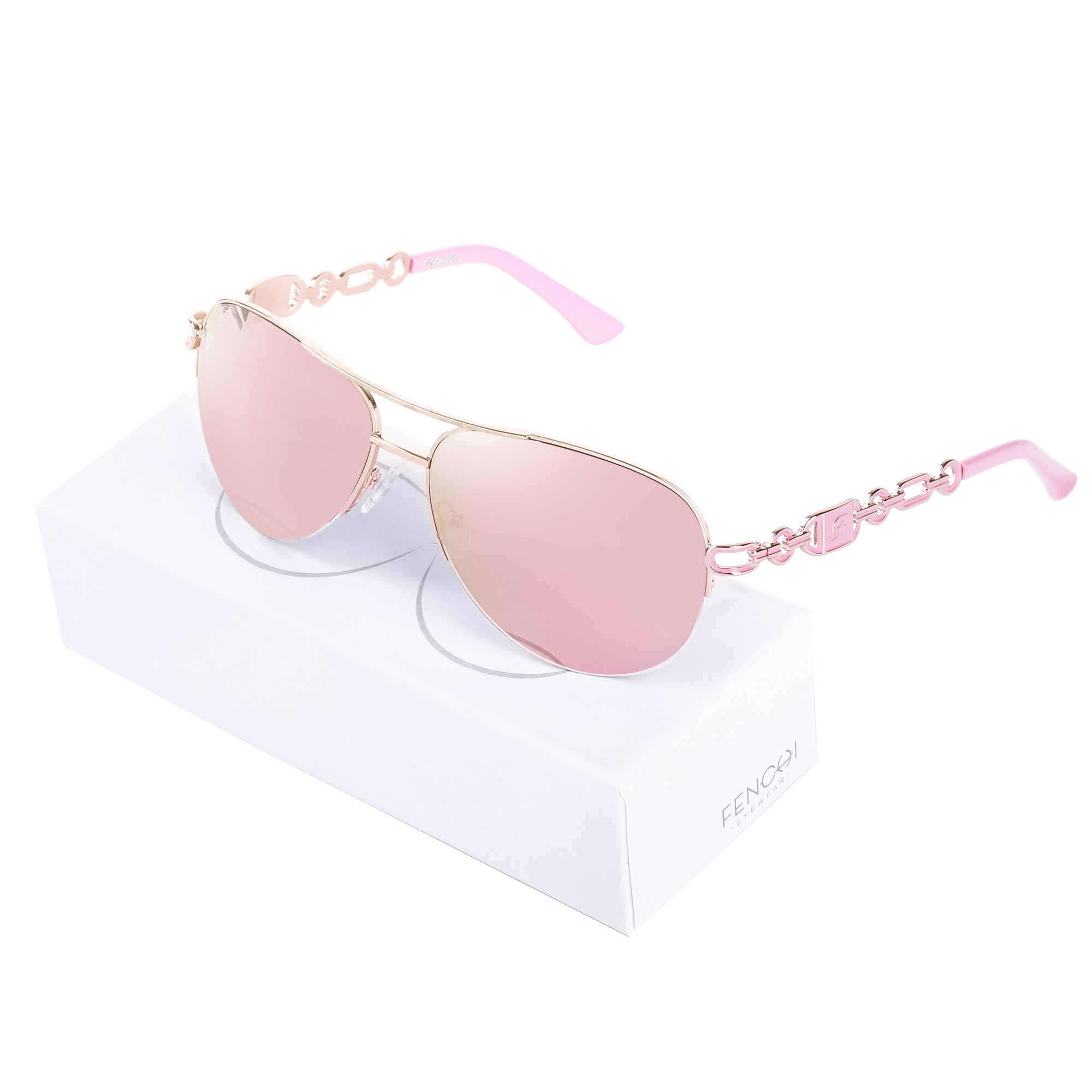 FENCHI Women Sunglasses Designer Trendy Brand Vintage Pink Mirror Sunglasses Ladies Cat Eye óculos De Sol Feminino