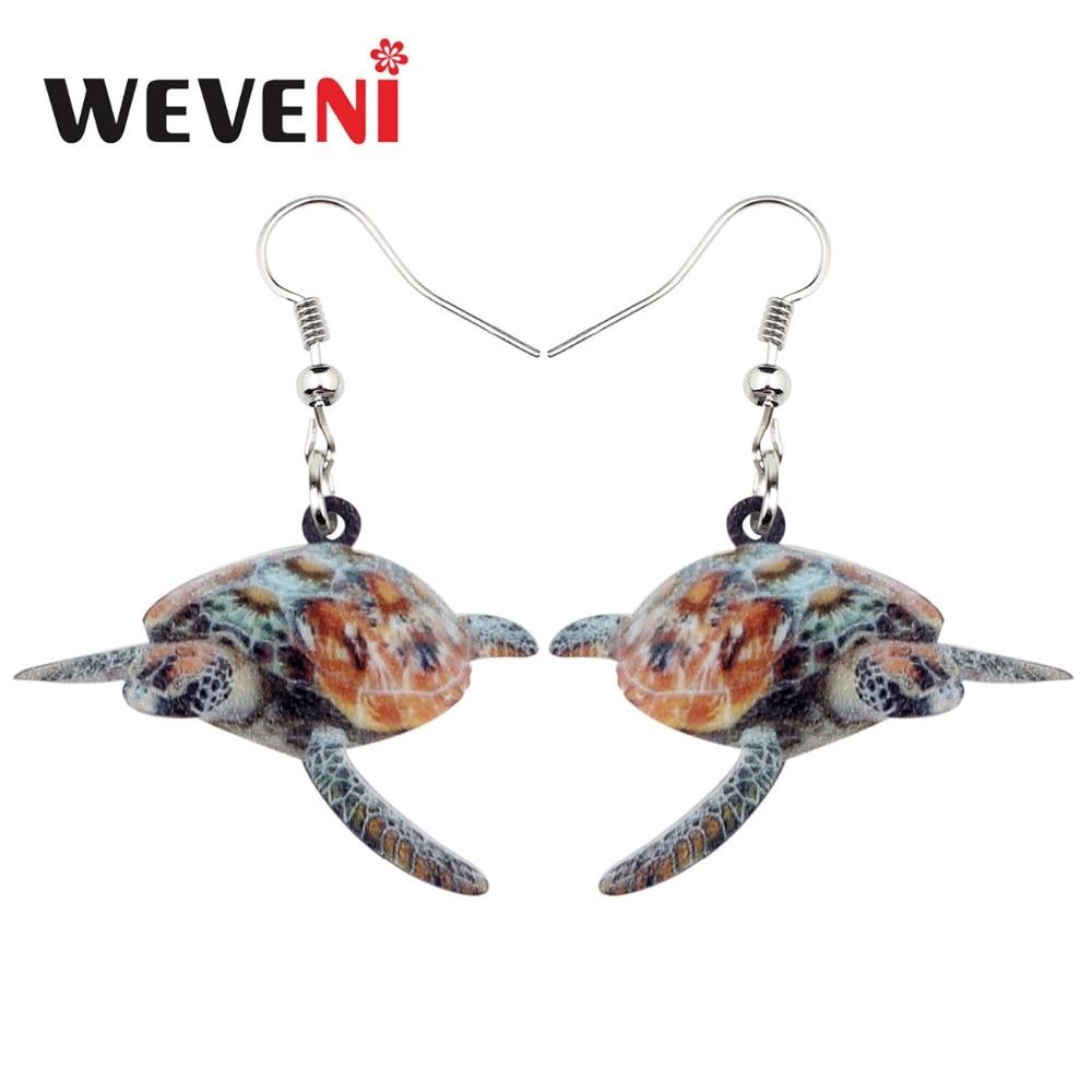 Weveni Accessory Acrylic Tortoise Turtle Earrings New Long Dangle Drop Ocean Marine Jewelry For Women Sea Animal Charms In From