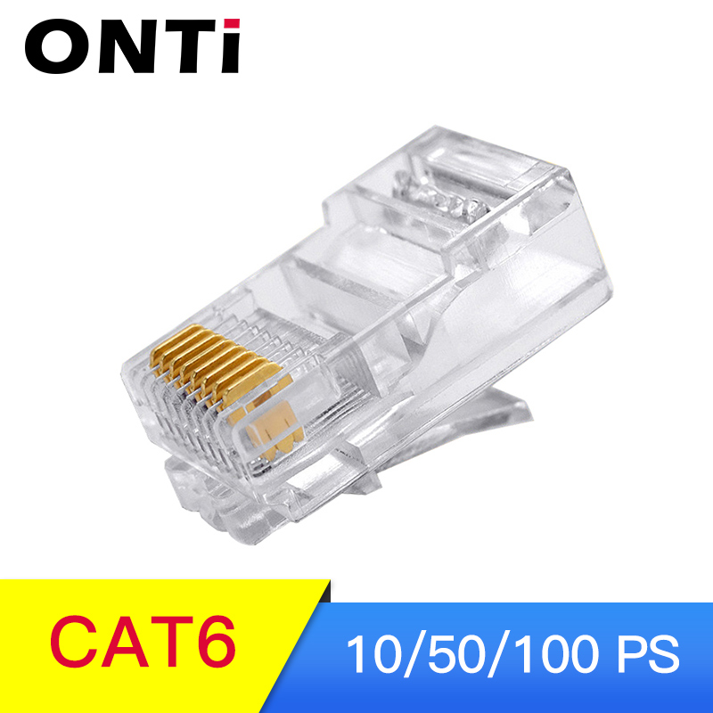 100 PCS RJ45 CAT6 Connector 8P8C Modular Plug Ethernet Cable Head  1Gbps Gigabit Network Crimp Crystal Head  RJ 45 Connector 50P