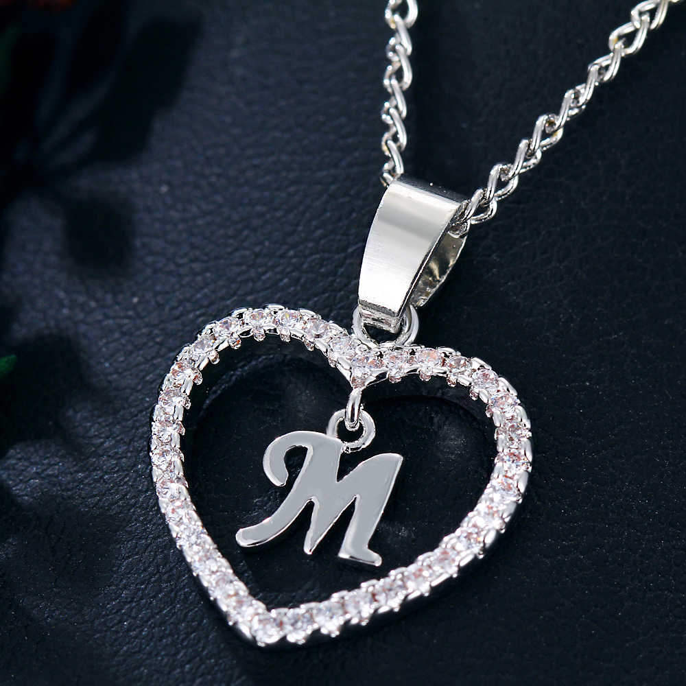 IF ME Initial Letter M Cubic Zirconia Heart Crystal Women Charms Statement  Necklaces & Pendants Gold Silver Color Jewelry Gifts