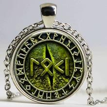 1pcs Snake Eye Loki Petite Written in Rune jewelry Glass Cabochon Necklace HZ1