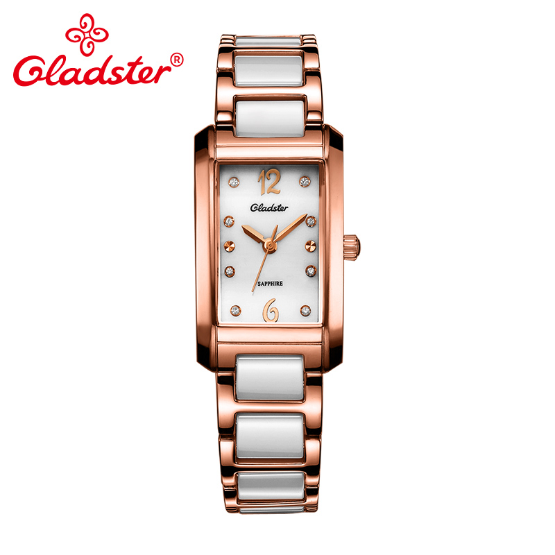 Gladster Luxury Japan CitizenGL30 Ceramic Women Watch Bracelet Lady Dress Quartz Wristwatch Sapphire Crystal Analog Female Watch цена 2017