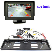 HD 4.3 inch Car LCD Monitor For CCD EU European Russian car license plate Rear View camera Backup Reverse Parking Sensor System