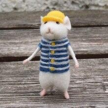 Женская Милая мышка ручная работа животное игрушка кукла шерсть игла Войлок тыкается киттинг сделай сам шерсть наборы посылка не Готовая