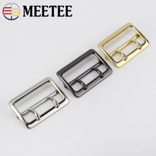 Meetee 2pcs 40mm Alloy Double Pin Buckle Adjustable Garment Bag Hardware Accessories DIY Leather Craft Material BF028