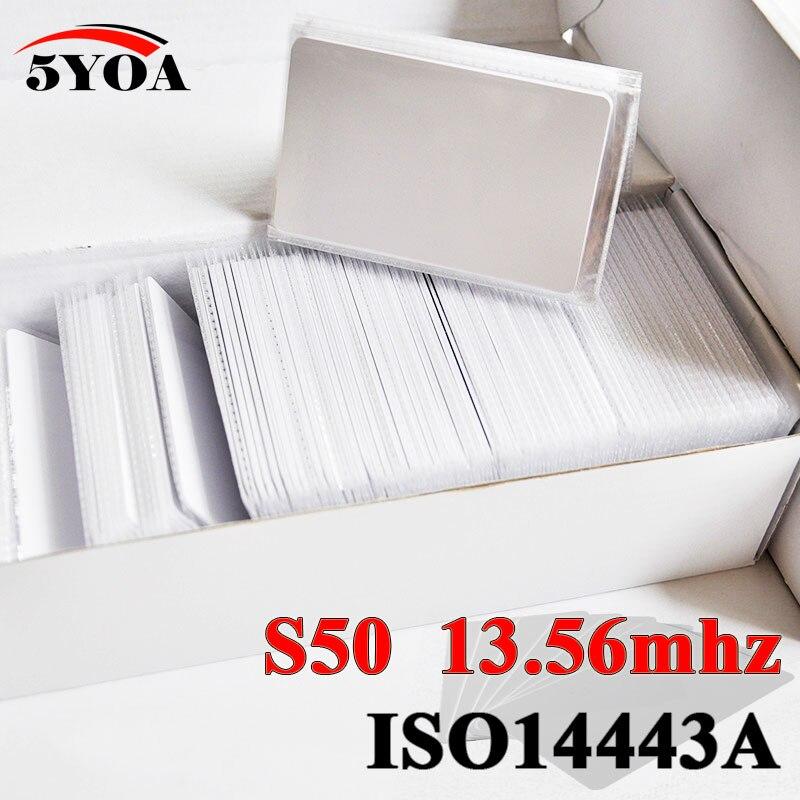 imágenes para 50 unids/lote IC Tarjeta de Etiqueta Etiqueta Etiqueta RFID 13.56 MHz ISO14443A S50 Etiqueta Universal