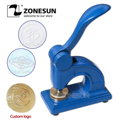 ZONESUN HF1 Design Customize Logo Embossed Stamp Stainless Steel Seal for Office Bussiness And Unversity Document