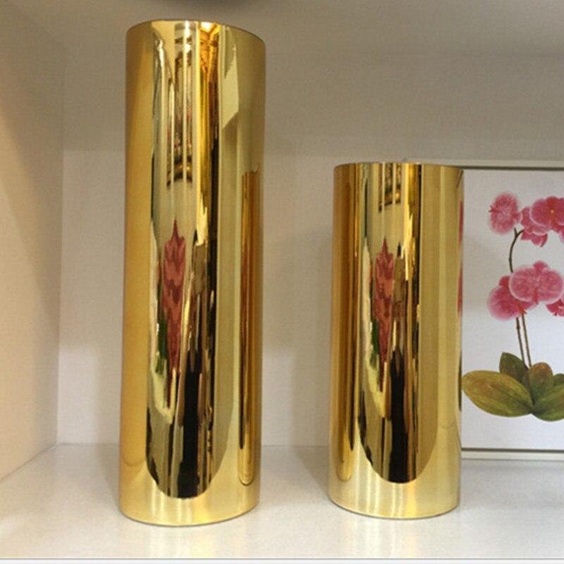 gold vase living room flower arrangement metal plating flower (3)
