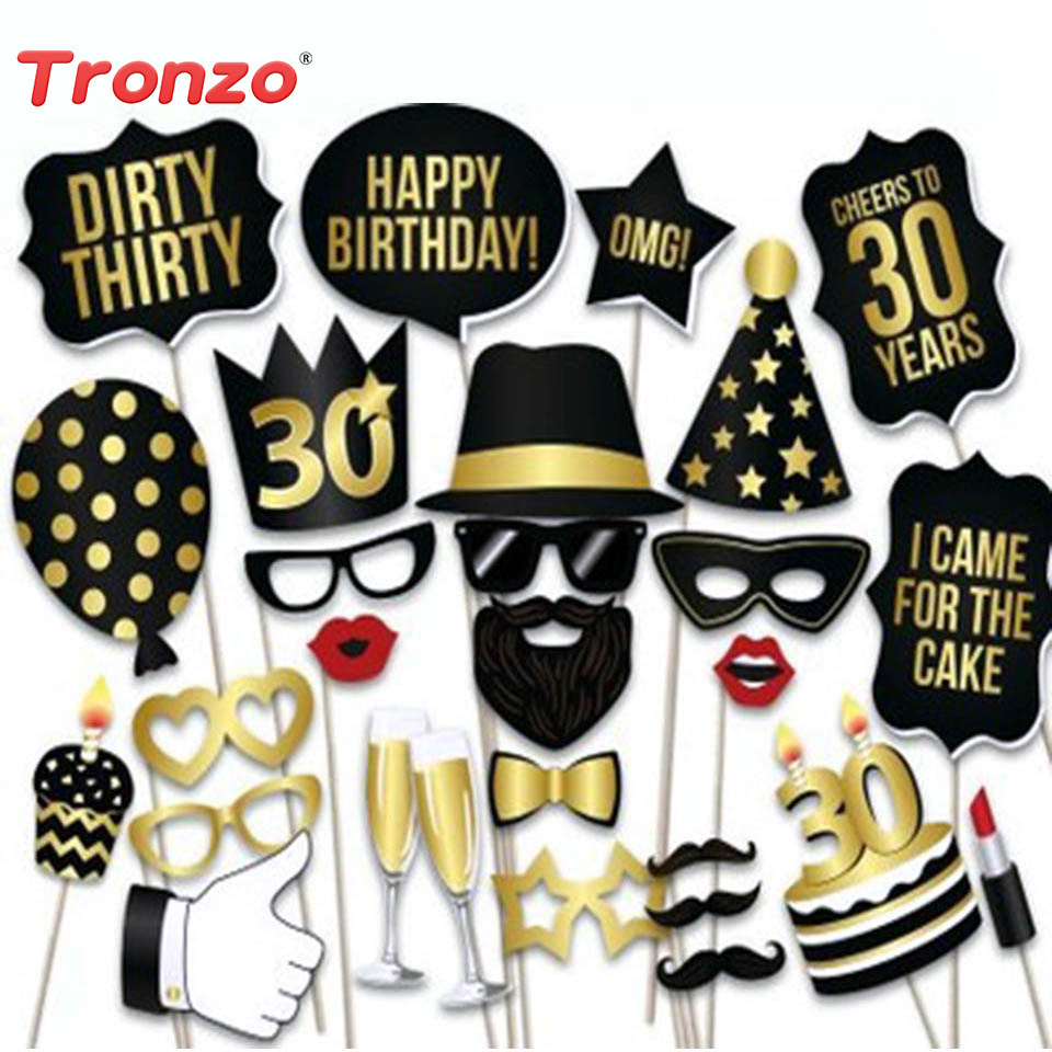 Tronzo 28pcs Lot Photo Booth Prop Happy Birthday 30th Decor Photobooth 50th 40th Party Decorations Funny Mask