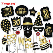 Tronzo FAI DA TE 28 pz / lotto Photo Booth Prop Buon Compleanno 30th 40th 50th Birthday Anniversary Party Decoration Divertente Maschera Photobooth